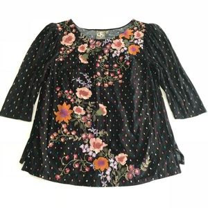 One September Anthro Floral Embroidered Blouse EUC